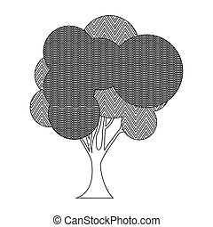 monochrome silhouette big leafy tree with zigzag and wave lines inside