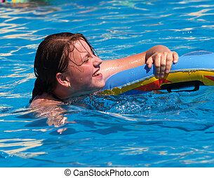 Swimming girl - Young teen girl swim in the swimmingpool