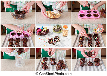 A Step by Step Collage of Making Easter Egg with Surprise -...