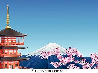 Chureito Pagoda and mount Fuji with sakura blossom - Vector...