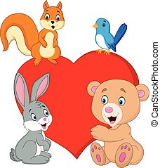 Cartoon happy animals with red heart