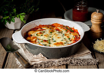 Baked Stuffed Conchiglioni with Tomato Sauce, rustic style