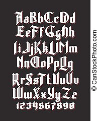 New gothic font - White gothic font with red shadows. Full...