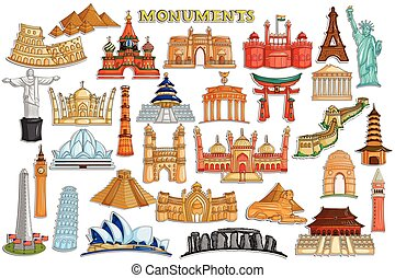 Sticker collection for world famous monument and building -...