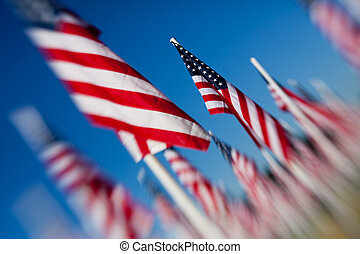American USA flags group - American USA flags arranged under...