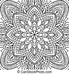 Abstract filigree pattern. Vector black and white...