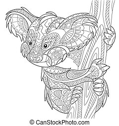 Zentangle stylized koala bear - Zentangle stylized cartoon...
