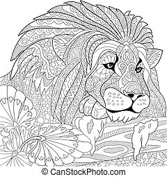 Zentangle stylized lion - Zentangle stylized cartoon lion...