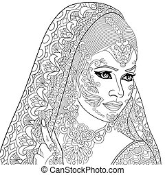 Zentangle stylized indian woman - Zentangle stylized cartoon...