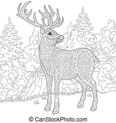 Zentangle stylized deer - Zentangle stylized cartoon deer...