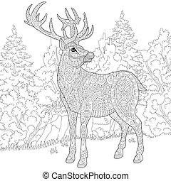 Zentangle stylized deer - Zentangle stylized cartoon deer...