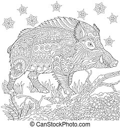 Zentangle stylized wild boar - Coloring page of wild boar...