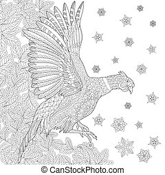 Zentangle pheasant bird - Pheasant bird (cock, phoenix),...