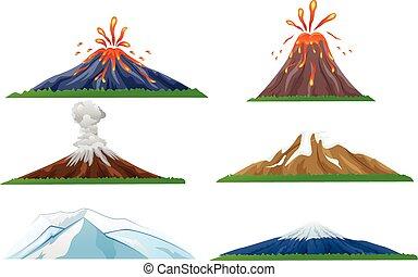 Cartoon volcano eruption set - Vector illustration of...
