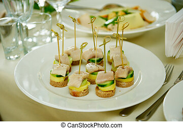 Set of delicious canapes