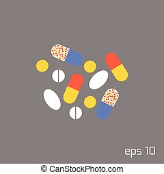 Pills and tablets in flat style