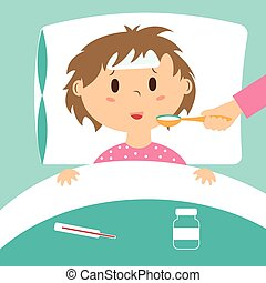 Sick kid taking medicine laying in bed