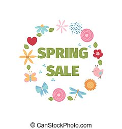Spring sale template with flowers and birds