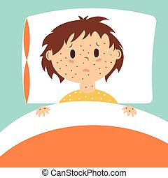Vector image of kid with rash in bed