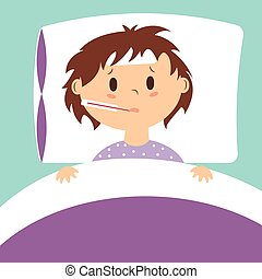 Vector image of sick kid in bed