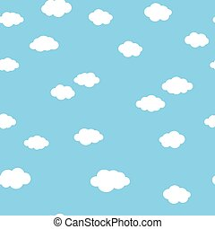 White clouds on blue pattern