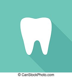 White flat tooth icon on blue