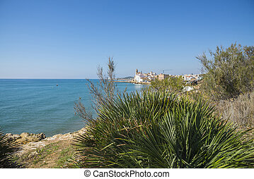 Mediterranean Sea, Sitges - Coast of the Mediterranean Sea,...