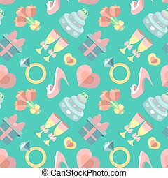 Wedding vector seamless pattern with gift, heart, stemware, rings etc. in flat style. Bridal endless flat background.