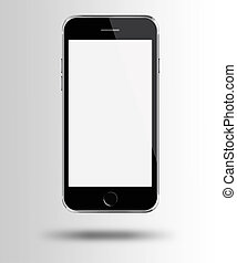 Mobile smart phone with white screen on gray background.