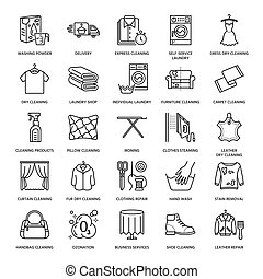 Dry cleaning, laundry line icons. Launderette service...