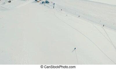 Freeride snowboarding. Top view. - Freeride snowboarding in...
