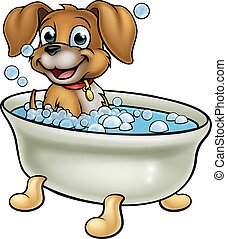 Dog in the Bath Cartoon - A cartoon dog having a bath with...