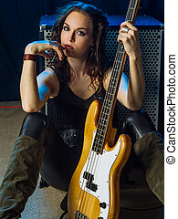 Beautiful woman bass player