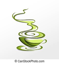 Cup of green tea. Papercut vector illustration. Tea time...