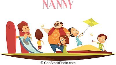 Man Babysitter With Kids Cartoon Illustration - Male...