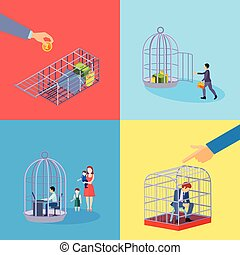 Office Cage Concept Set - Set of square cage office business...