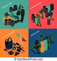 Paintball Isometric Compositions - Paintball isometric...