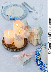 Table decorated for wedding or romantic dinner
