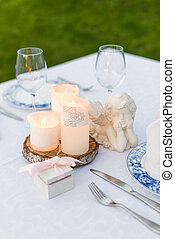 Table decorated for wedding or romantic dinner - Table...