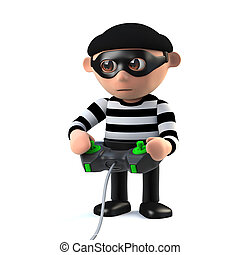 3d Funny cartoon burglar character plays a videogame - 3d...