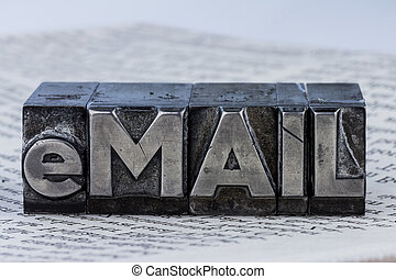 """written email in lead letters - the word """"e-mail"""" in lead..."""