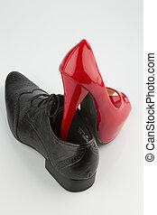 red high heels and men's shoe - women's shoe on men's shoe,...