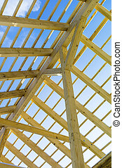 wooden roof construction, symbol photo for home, home...