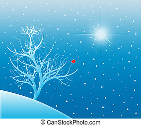 Snowy Tree Under a Bright Star - Winter scene of a...