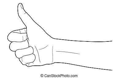 Line of group of human hands showing thumbs up