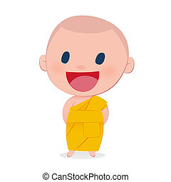 A child monk smile, isolate on white background