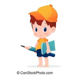 A boy in school uniform posing with a huge pencil,...