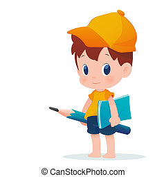 A boy in school uniform posing with a huge pencil,...