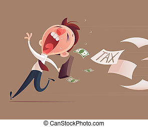 Avoid tax, Business man running away from tax for tax...