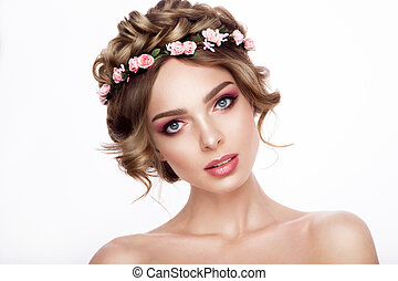 Fashion Beauty Model Girl with Flowers Hair. Bride. Perfect Creative Make up and Hair Style. Hairstyle.